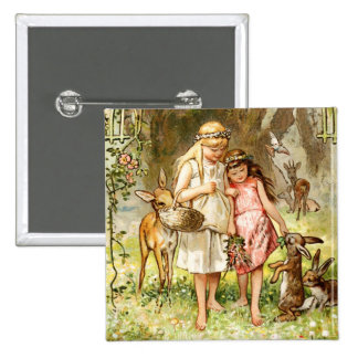 Hermann Vogel - Snow White and Rose Red Pinback Button