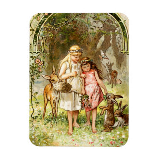 Hermann Vogel - Snow White and Rose Red Rectangle Magnets