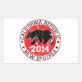 hermano 2014 de la república de California nuevo Rectangular Pegatinas