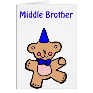 hermano del centro del oso de peluche felicitaciones