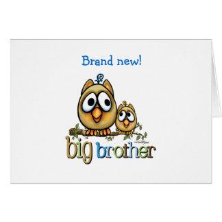 Hermano mayor - búhos de Bro del bebé Tarjeta De Felicitación