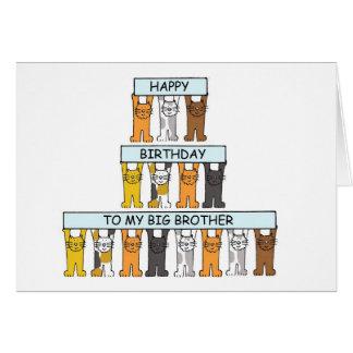 Hermano mayor del feliz cumpleaños de los gatos tarjeta de felicitación
