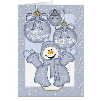 hermano, tarjeta de Navidad feliz del muñeco de ni