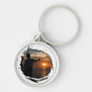 Hermanos al Atardecer; Customizable Silver-Colored Round Keychain