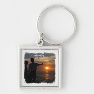Hermanos al Atardecer; Customizable Silver-Colored Square Keychain