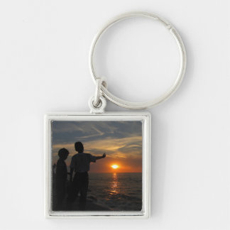 Hermanos al Atardecer Silver-Colored Square Keychain
