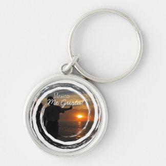 Hermanos al Atardecer; Mexico Souvenir Silver-Colored Round Keychain