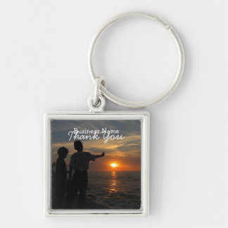Hermanos al Atardecer; Promotional Silver-Colored Square Keychain