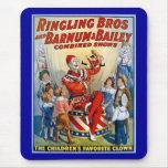 Hermanos de Ringling y Barnum y payaso del vintage