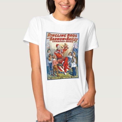 Hermanos de Ringling y Barnum y payaso del vintage T-shirts