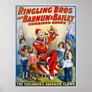Hermanos de Ringling y Barnum y payaso del vintage Póster