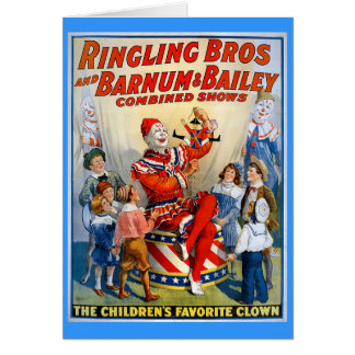 Hermanos de Ringling y Barnum y payaso del vintage Tarjeta De Felicitación