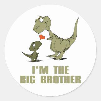 Hermanos del dinosaurio pegatina redonda