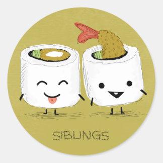 Hermanos del sushi pegatina redonda