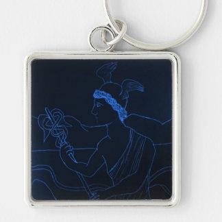 Hermes - dios del mensajero llavero cuadrado plateado
