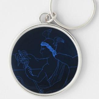 Hermes - dios del mensajero llavero redondo plateado