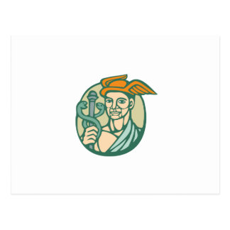 Hermes Holding Cadaceus Woodcut Linocut Postcard