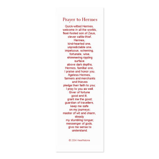 Hermes Prayer Card Mini Business Card