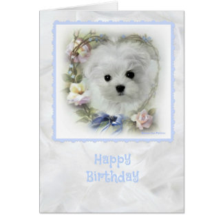 Hermes the Maltese Birthday Card