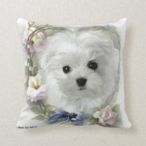 Hermes the Maltese Pillow/Cushion Throw Pillow