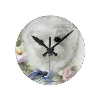 Hermes the Maltese Round Clock