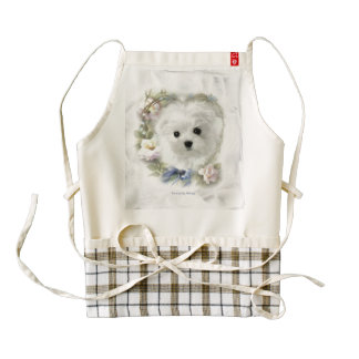 Hermes the Maltese Zazzle HEART Apron