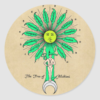 Hermes Tree of Alchemy Classic Round Sticker