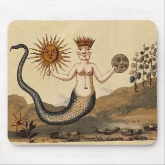 Hermetic Arts Merman holds sun and moon Mouse Pad