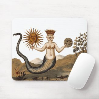 Hermetic Arts Merman Mouspad with sun and moon mousepad