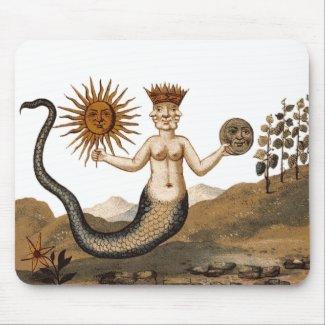Hermetic Arts Merman Mouspad with sun and moon Mousepads