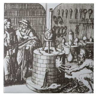 Hermetic Philosophers and an Alchemist, from 'Muse Large Square Tile