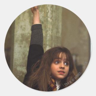 Hermione raises her hand round sticker