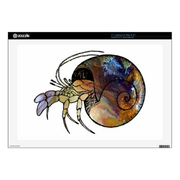 "Beach Themed Hermit Crab 17"" Laptop Skins"