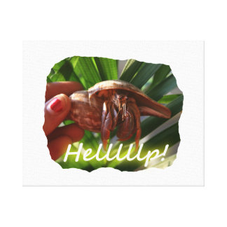 Hermit Crab and Help text , funny animal design Canvas Print