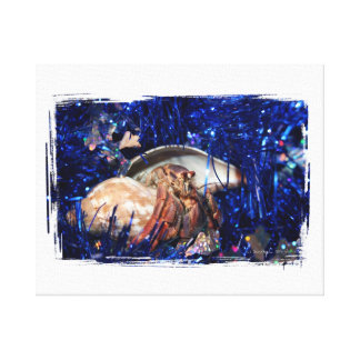 Hermit Crab Christmas Design Against Blue Tinsel Gallery Wrapped Canvas