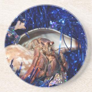 Hermit Crab Christmas Design Against Blue Tinsel Beverage Coasters