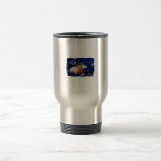 Hermit Crab Christmas Design Against Blue Tinsel Coffee Mug