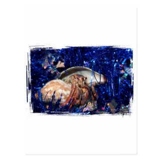 Hermit Crab Christmas Design Against Blue Tinsel Postcard