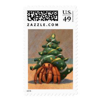 Hermit Crab Christmas postage stamp
