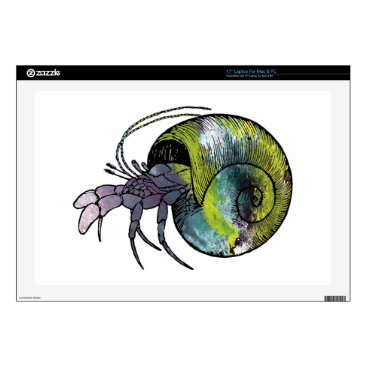 Beach Themed Hermit Crab Decals For Laptops
