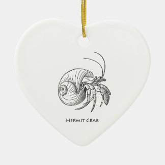 Hermit Crab Illustration (line art) Double-Sided Heart Ceramic Christmas Ornament