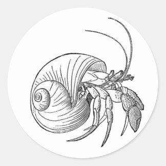 Hermit Crab Illustration (line art) Classic Round Sticker