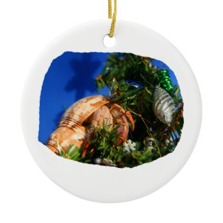 Hermit Crab in Tree blue background cutout ornament