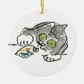 Hermit Crab & Kitty Ceramic Ornament
