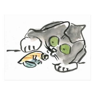 Hermit Crab & Kitty Postcard