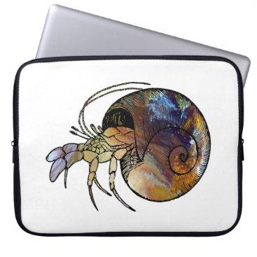 Beach Themed Hermit Crab Laptop Sleeve
