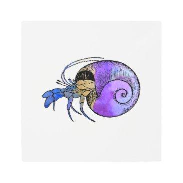 Beach Themed Hermit Crab Metal Photo Print