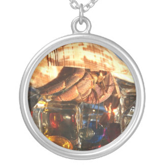 Hermit Crab on Ice Cubes Silver Plated Necklace