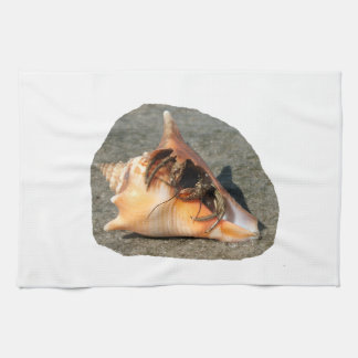 Hermit Crab on Sand Coming out of shell Kitchen Towel