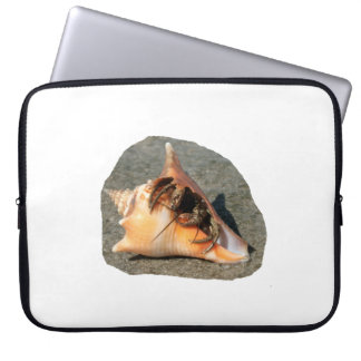 Hermit Crab on Sand Coming out of shell Laptop Sleeve